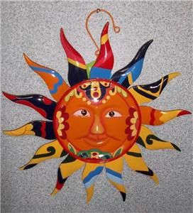 METAL MEXICAN TALAVERA STYLE SUN FACE WALL/PATIO PLAQUE 12 + NEW WITH