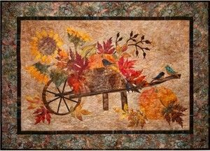 Harvest Pumpkin Leaves Birds Fall Autumn Laundry Basket Applique Quilt