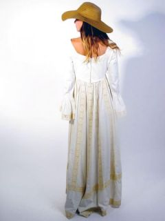 Vtg 60s Emma Domb Boho Hippie Crochet Lace Wedding Maxi Dress Bell