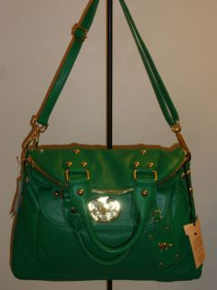 NEW EMMA FOX LARGE GREEN CLOVER FOLDOVER LEATHER BAG TOTE HANDBAG