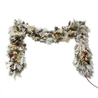 187 399 colin cowie colin cowie 9 flocked white garland with lights