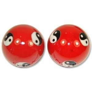 Baoding Balls Chinese Health Exercise Stress Balls Red