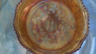 Fenton Footed Butterfly Berry Berries Carnival Glass Bowl Marigold