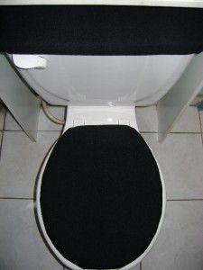 solid black fleece fabric toilet seat cover set