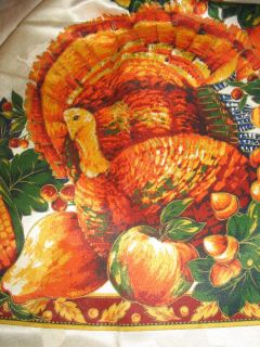 Harvest Splendor Fall Autumn Thanksgiving Tablecloth 60 x 84 Turkey