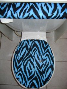 Black & Blue ZEBRA STRIPES Print Fabric Toilet Seat Cover Set
