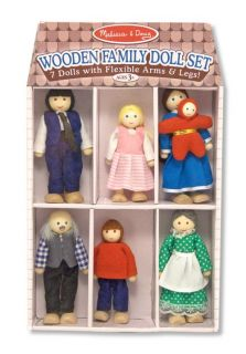 melissa doug wooden family doll play set