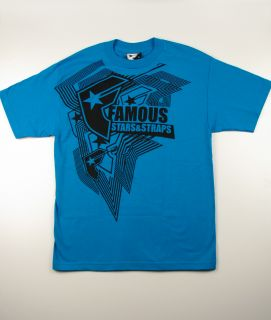 FAMOUS Stars & Straps BUYAKA Turquoise Blue Mens Graphic T Shirt Tee