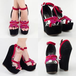 Blk Pink Red Silver Open Toe High Heel Platform Wedge Mary Jane Pump