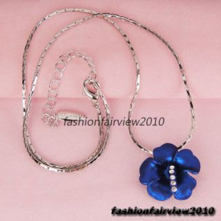 18K White Gold GP Dark Blue Flower Swarovski Crystal Necklace Short