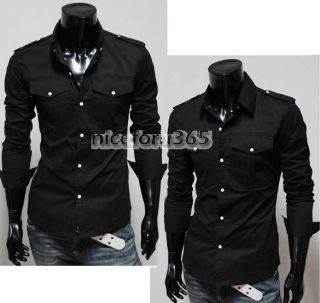 Stylish Casual Button Front Long Sleeve Slim Fit Shirts 3 Color