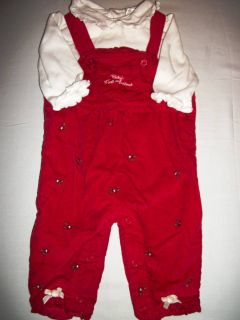 First Moments Layette Baby Girl Red Velvet Overalls First Christmas
