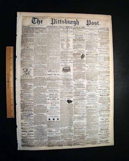 Dewrys Bluff VA 1862 Pittsburgh PA Civil War Newspaper