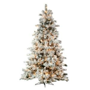 artificial flocked northern spruce medium pre lit 9 ft christmas tree