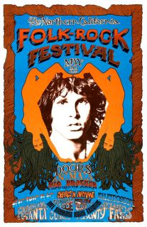 1968 The Doors Folk Rock Concert Poster Jim Morrison