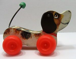 Vintage 1965 Fisher Price #693 Little Snoopy Wobbly Wooden Pull Toy
