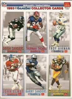 Gameday Football All Stars Football Trading Card Sheets A B C
