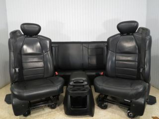 FORD F250 F350 F650 BLACK SUPER DUTY SET FRONT SEATS REAR CONSOLE