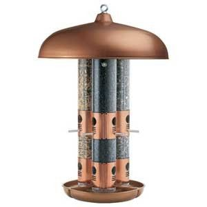 COPPER TRIPLE TUBE BIRD FEEDER 1900389 12 feeding ports 3 seeds 10lbs
