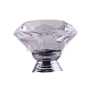 Style Crystal Glass Drawer Door Pull Kitchen Knob Handle