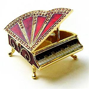 Red Fancy Piano Jewelry Box Crystal Keepsake Gift