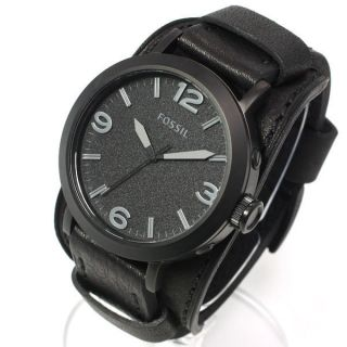 New Fossil Mens Black Leather Strap Watch w Black Dial