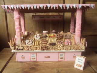 Ooak Dolls House Market Bakery Shop Stall over 145 food items included