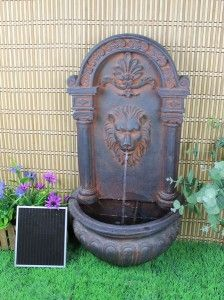 Solar on Demand Outdoor Solar Wall Water Fountain in Rust Tone