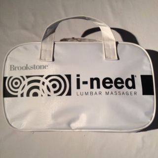 Brookstone i need Lumbar Massage Pillow Black W Carry Case NEVER USED