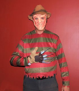 Freddy Krueger Nightmare on Elm St Adult Costume Set Top Hat Mask Claw