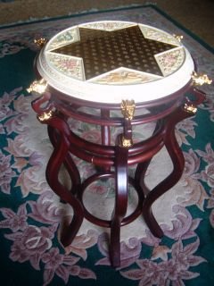 FRANKLIN MINT DELUXE CHINESE CHECKER GAME TABLE FLOOR TABLE WITH