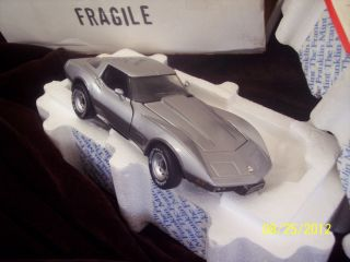 Corvette Precision Model Franklin Mint w Paperwork Silver Gray