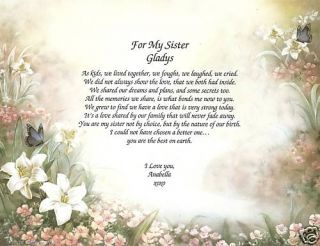 Personalized Sister Friend Poem Print for My Sister