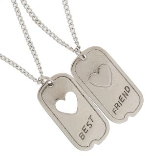 Pendant BFF Necklace Set Friendship 1 Dog Tag Heart Best Friends