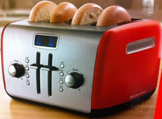 KitchenAid KMT422ER 4 Slice Red Digital Stainless Steel Toaster with