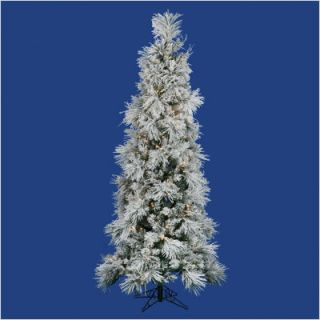 Flocked Swiss Pine 90 Artificial Christmas Tree with Clear Lights
