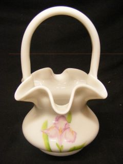 Fenton Hand Painted Signed Freida H White Floral Basket