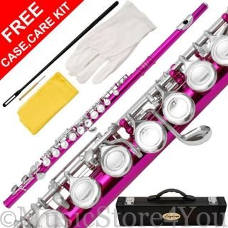 120 PK   C FLUTE Lazarro HOT PINK/SILVER Keys+CASE,CARE KIT~Split E