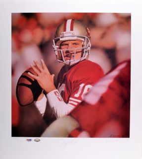 Joe Montana Signed Lithograph Le of 500 19x17 5 PSA DNA Certified