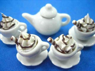 Dollhouse Miniature Food Drink Beverage 4 Hot Chocolate Cups 1 Pot