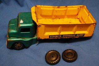 Structo Hydraulic Dump Truck Vintage Metal Toy Aqua Green Yellow