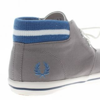 Fred Perry Byron Mid Collar Canvas UK Size Grey Trainers Shoes Mens