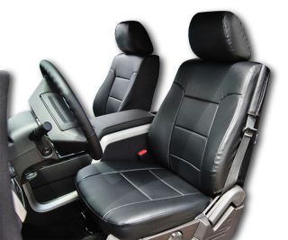 FORD F 150 2009 2013 BLACK S.LEATHER CUSTOM FIT FRONT SEAT COVER