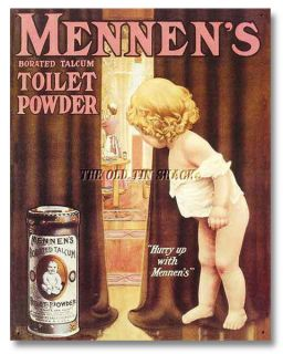 Nostalgic Tin Metal Sign Mennens Toilet Borated Talcum Powder