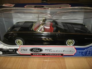 1963 Ford Thunderbird Black Anson Collection 1 18 Diecast Car