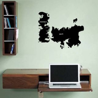 Game of Thrones World Map Westeros Essos Vinyl Wall Sticker Decal