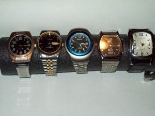 Of 5 Mens Quartz Watches All Running Benrus Swanson Synrgy Fumagallis