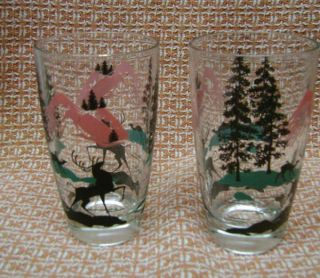 Pink Teal Blue Deer Stag Gazelle Forest Mountain 1950s Glasses