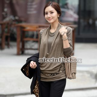Womens Stylish Slim Long Sleeve Crew Neck Top Blouse T Shirt Primer