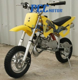 50cc 2 Stroke Gas Motor Mini Bike Dirt Pit Bike Yellow H DB49A